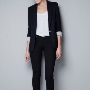 ZARA Black Blazer, Viscose, One Button Gold, XS